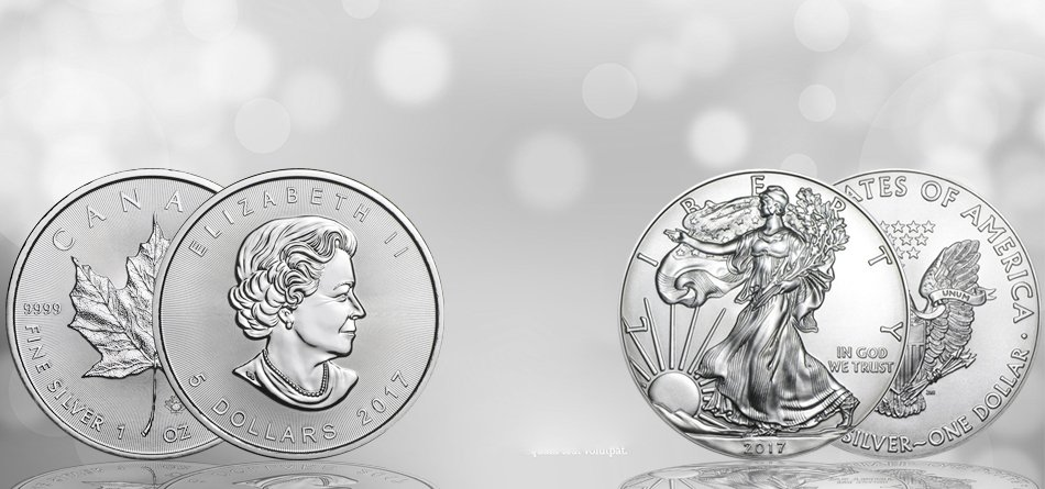 1 oz silver coins in canadian maple leaf and American egale